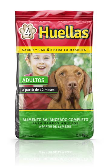 Alimento Balanceado 4 Huellas perros adultos 15 kilos